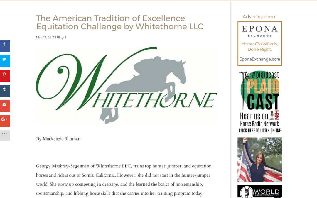"The Plaid Horse's ""The American Tradition of Excellence Equitation Challenge by Whitethorne LLC"""