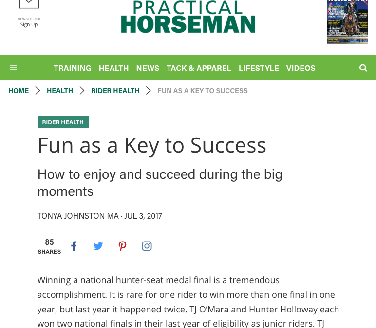Practical Horseman Column: Fun as a Key to Success